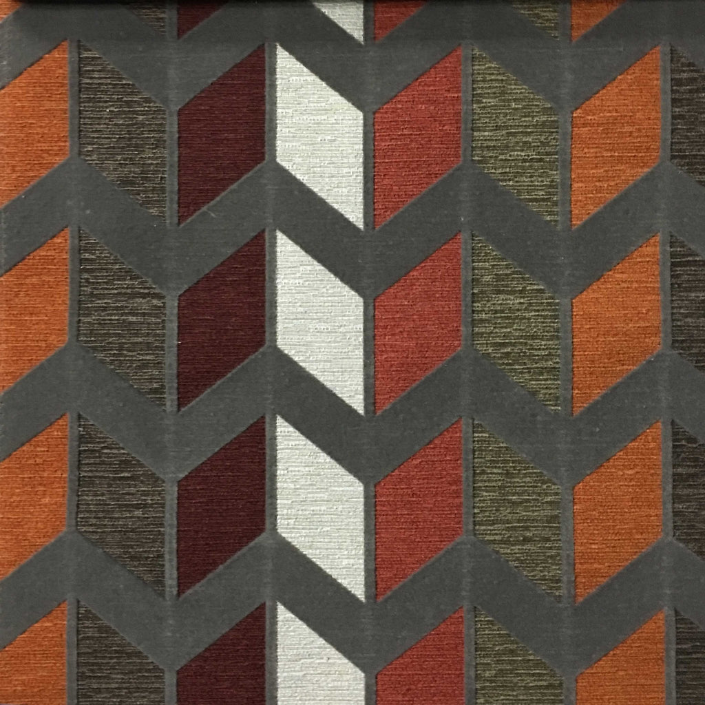 Ziba - Modern Texture Chevron Pattern Cotton Polyester Blend Upholstery Fabric by the Yard - Available in 8 Colors - Sunset - Top Fabric - 5