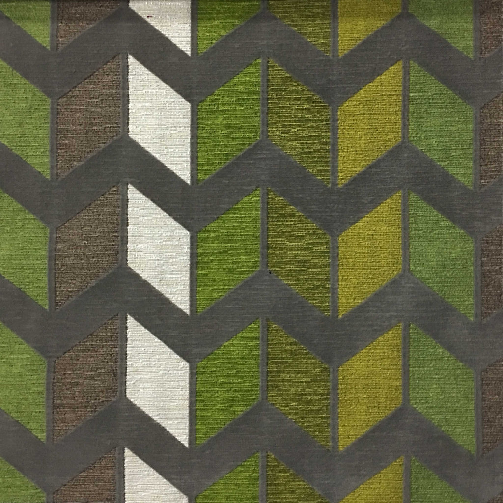 Ziba - Modern Texture Chevron Pattern Cotton Polyester Blend Upholstery Fabric by the Yard - Available in 8 Colors - Wheatgrass - Top Fabric - 3