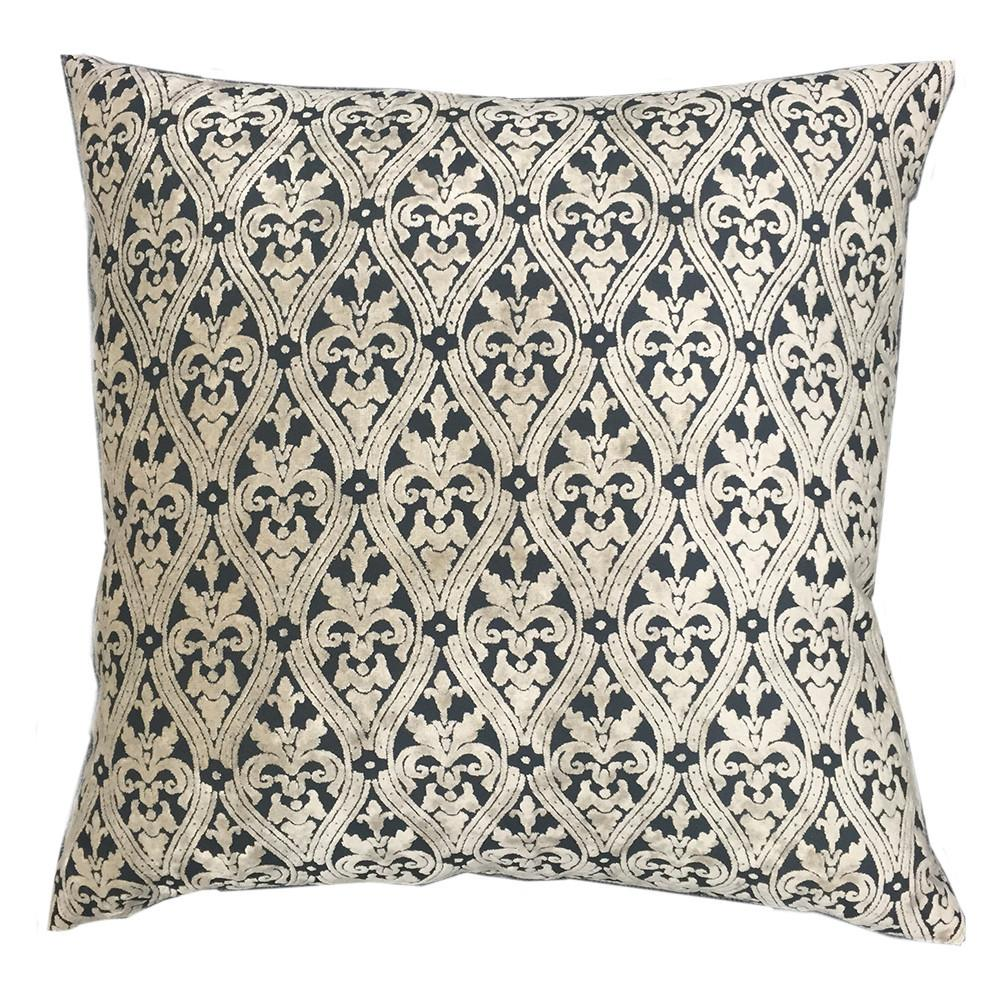 Buckingham Black & White Feather Down Pillow -  - Top Fabric - 1