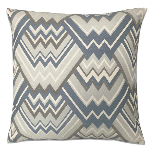 Maze Grey & Blue Feather Down Pillow - Grey & Blue - Top Fabric - 1
