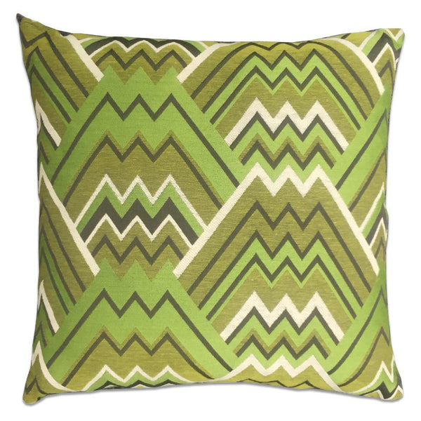 Maze Green Feather Down Pillow - Green - Top Fabric - 1