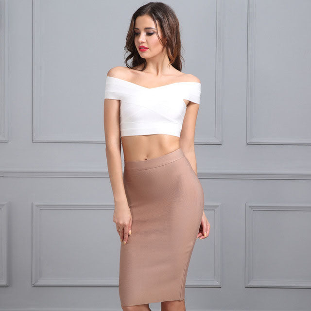 BODYCON BANDAGE SKIRT IN NUDE