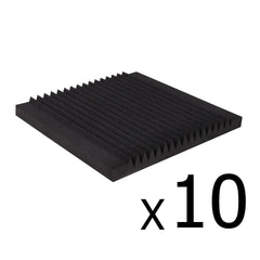 10 x Studio Acoustic Foam Tile Wedge Black 50x 50 x 5cm
