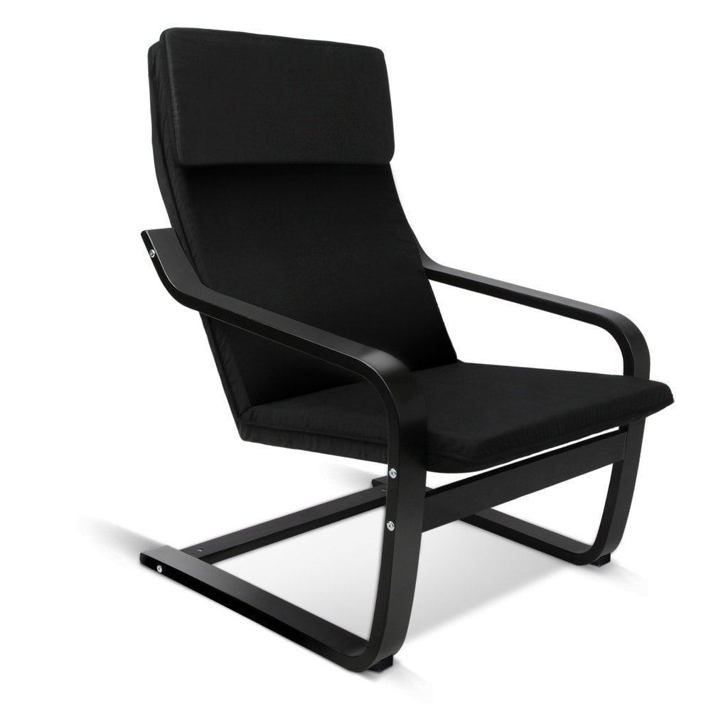 Birch Plywood Fabric Lounge Armchair - Black