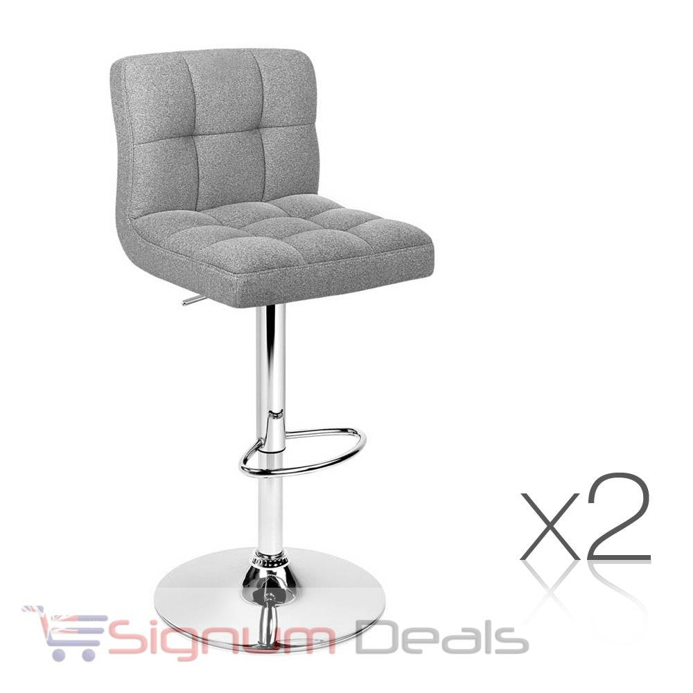 Set of Two Fabric Bar Stools - Grey