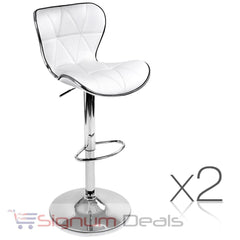 2 x PU Leather Bar Stool - White