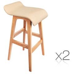 2 x Beech Wood Fabric Bar Stools - 4 Different Colours