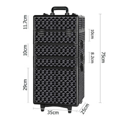 4 in 1 Portable Beauty Make up Case Diamond Black