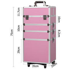 7 in 1 Portable Beauty Cosmetic Trolley Pink