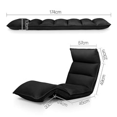 4 Adjustable Section Floor Lounge Chair- Black.