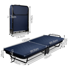 Foldable Adjustable Guest Bed with Wheels & Mattress - Single