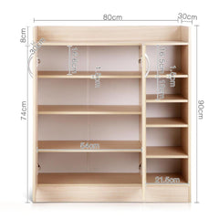 2 Doors Shoe Cabinet Storage Cupboard - Natural Timber