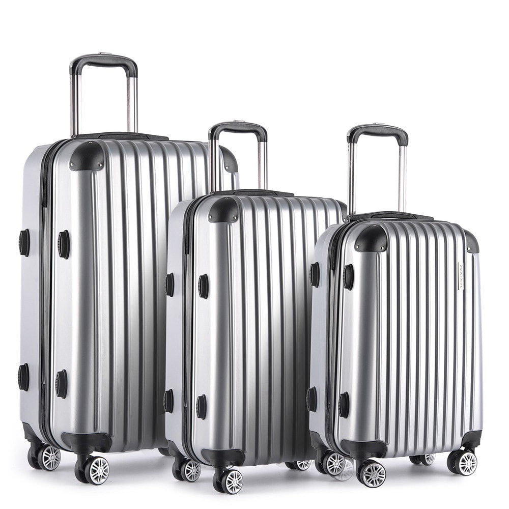 Set of 3 Hard Shell Travel Luggage with TSA Lock - Silver