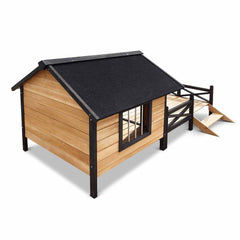 Dog Kennel with Patio - Black
