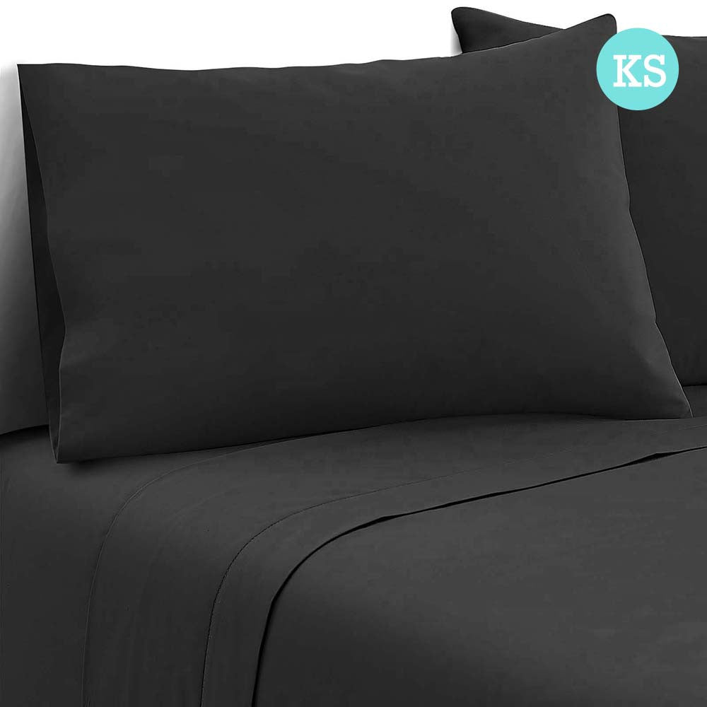 3 Piece Microfibre Sheet Set King Single Black