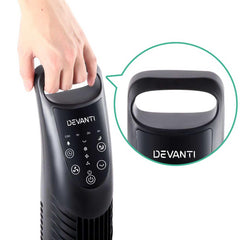 3 Speed Tower Fan with Remote Control - Black