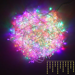 800 LED Christmas Icicle Lights Multi Colour