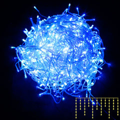 800 LED Christmas Icicle Lights Blue White