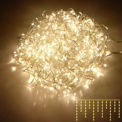 800 LED Christmas Icicle Lights Warm White