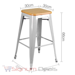 2 x Tolix Replica Metal Steel Bamboo Seat Bar stool 66 cm Metal