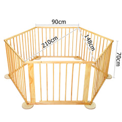 Deluxe Baby Natural Wooden Playpen 6 Sides