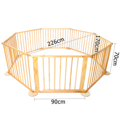 Baby Natural Wooden Play Pen 8 Sides