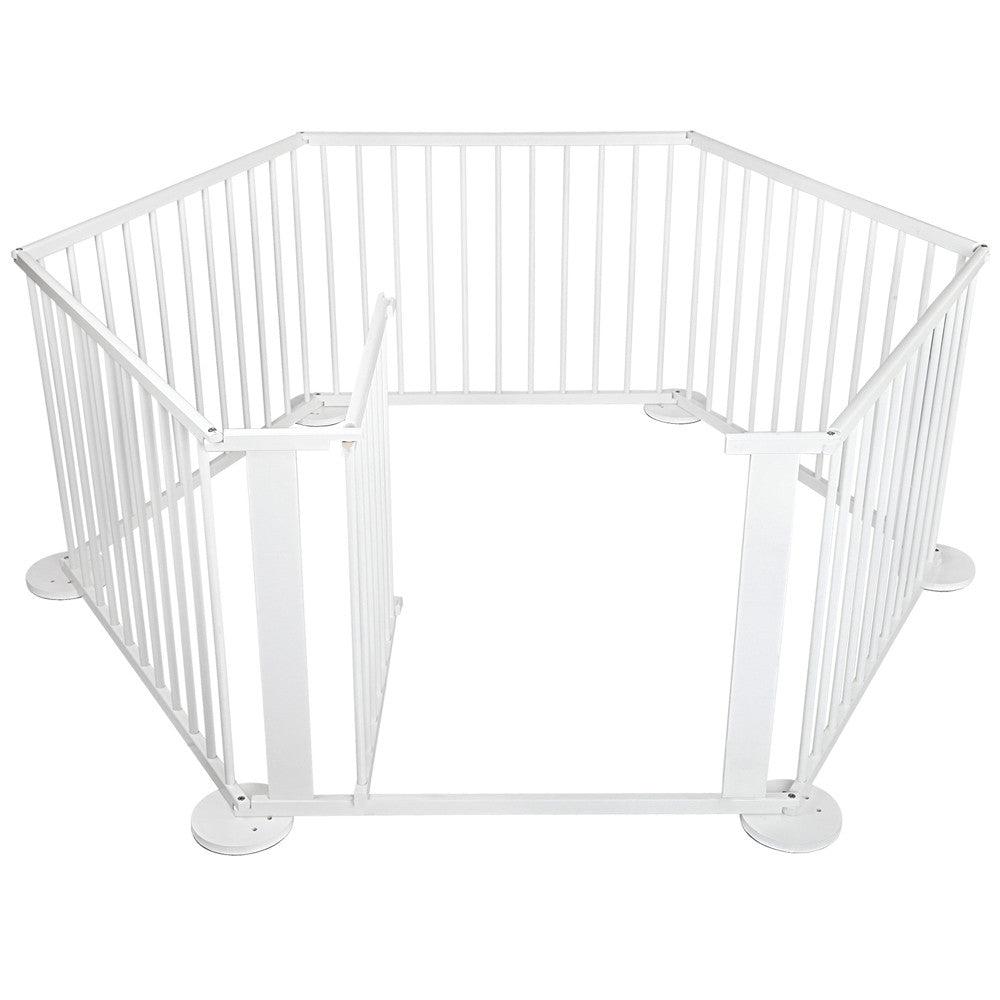 Baby White Natural Wooden Playpen 6 Sides