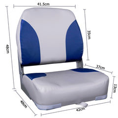 2 X Premium Foldable Boat Seat Grey/ Blue