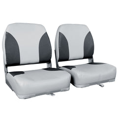 2 X Premium Foldable Boat Seat Grey/ Black