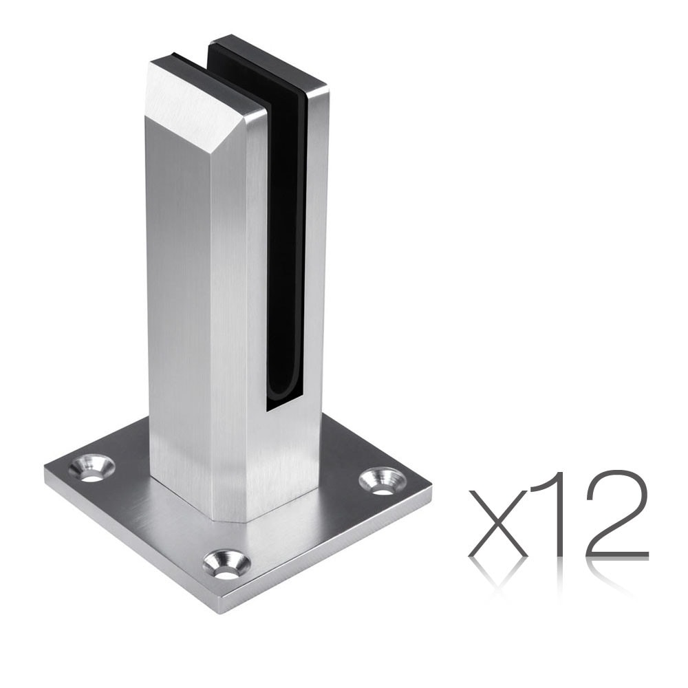 Set of 12 Frameless Glass Spigots Fencing Mount Square