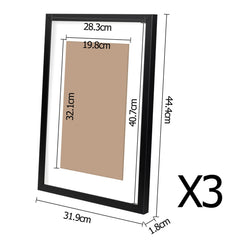 3 pcs Photo Frames Set Wall Black