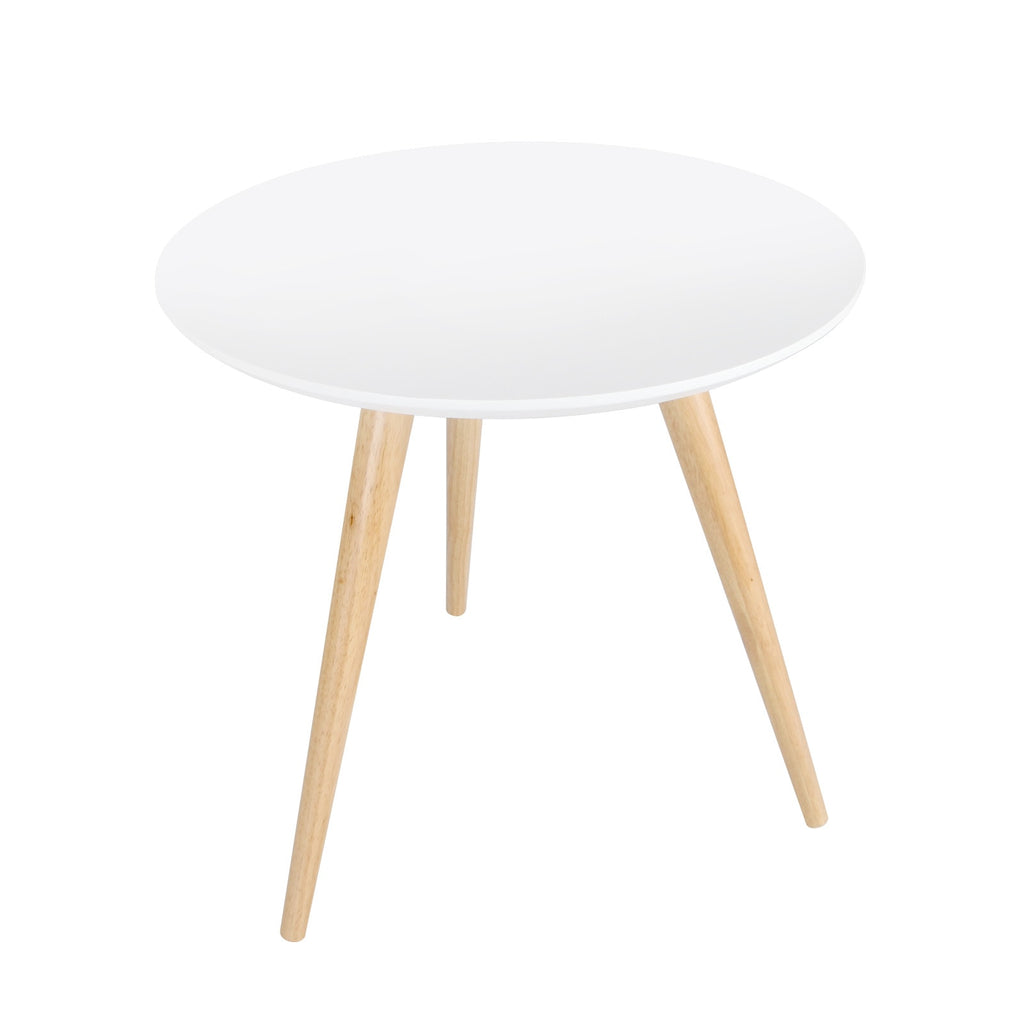 Round Bedside Coffee Table w/ Rubber Wood Legs