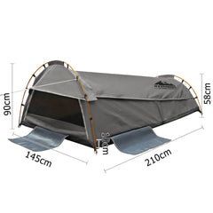 Double Camping Canvas Swag W/ Air Pillow Grey