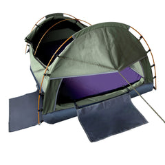 KingSingle Camping Canvas Swag Tent Celadon W/ Air Pillow