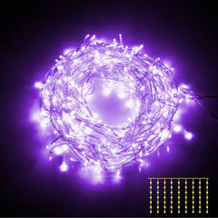 600 LED Christmas Curtain Lights Purple