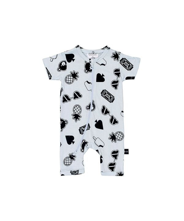 HUXBABY | Patches Short Zip Romper