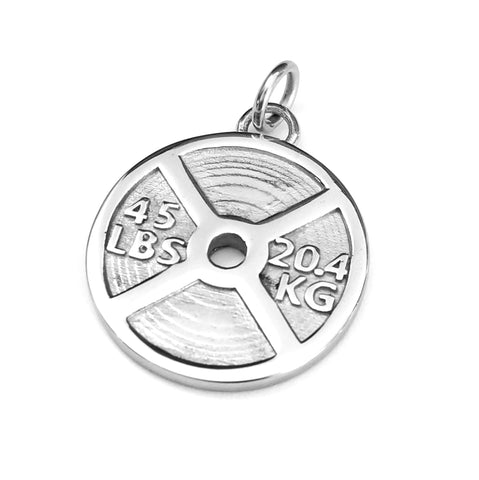 45lb Weight Plate Pendant or Large Charm (Stainless Steel)