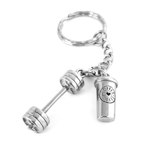 Will Deadlift for Coffee Barbell Keychain (Stainless Steel)