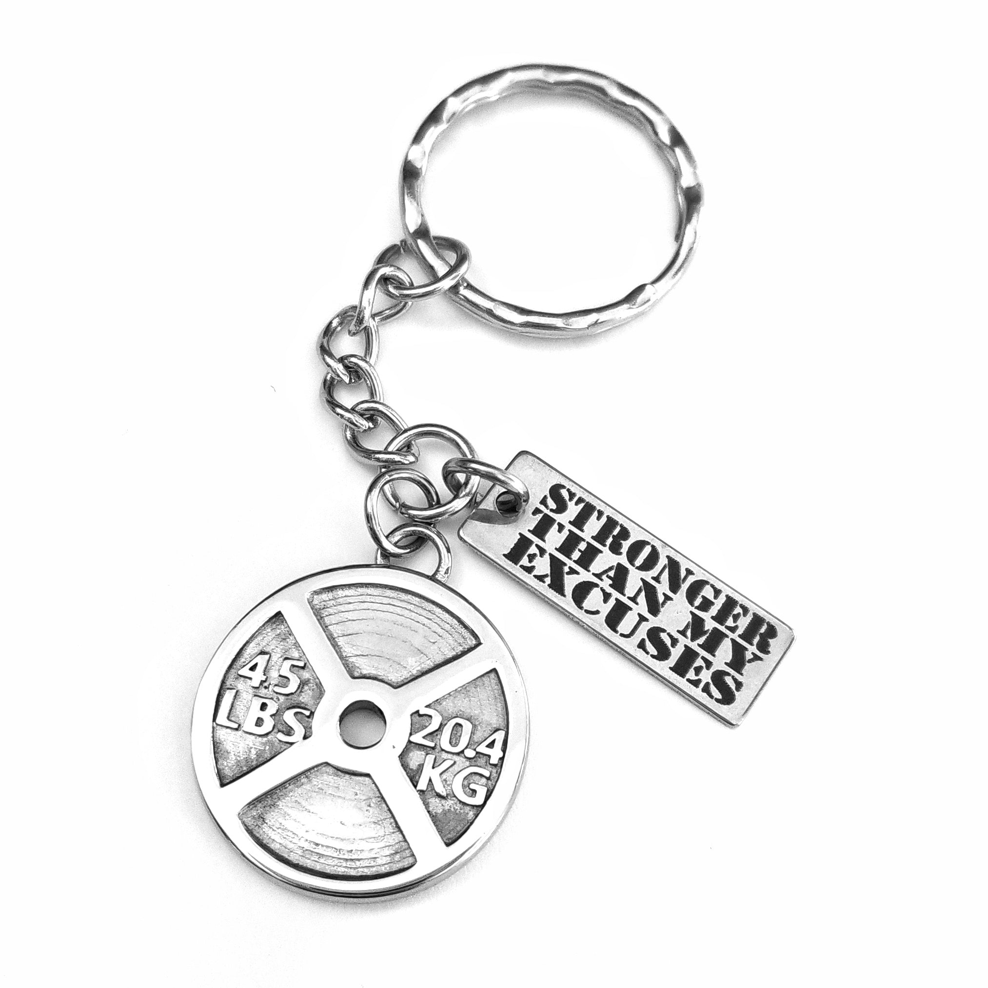 Stronger Than My Excuses 45lb Weight Plate Key Chain (Stainless Steel)