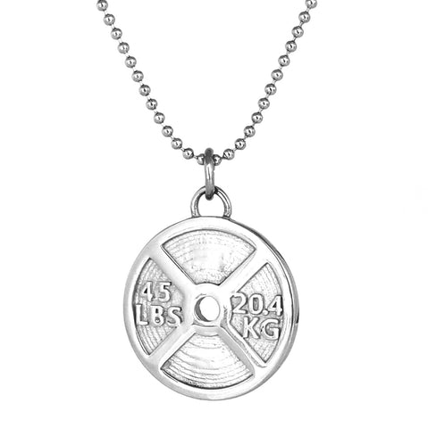 NEW - 45lb Weight Plate Necklace (Stainless Steel)