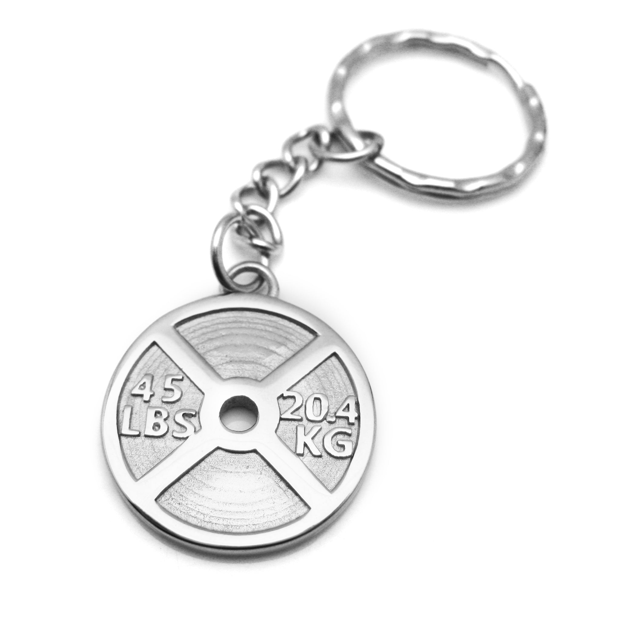 45lb Weight Plate Keychain (Stainless Steel)