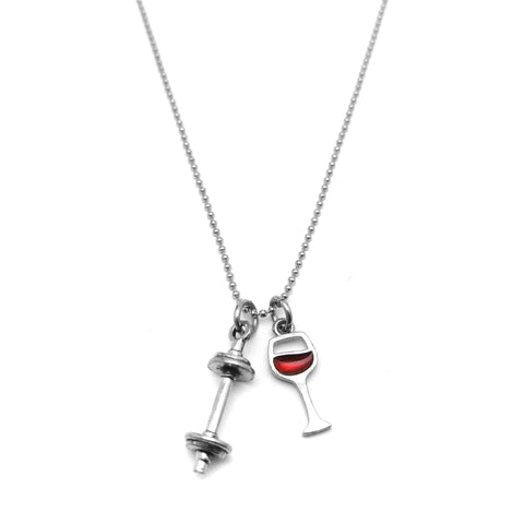 Will Deadlift for Wine Mini Barbell Necklace