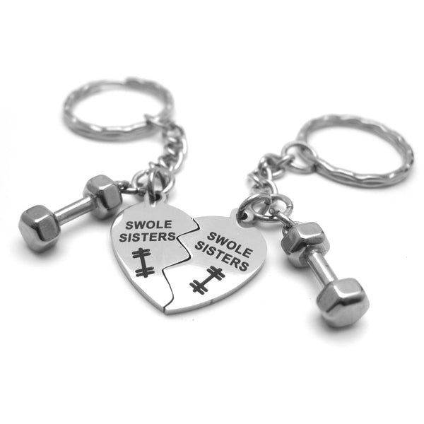 Swole Sisters and Mini Dumbbell Stainless Steel Key Chain Set