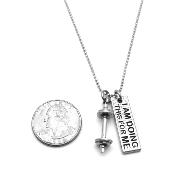 I Am Doing This For Me Mini Barbell Necklace