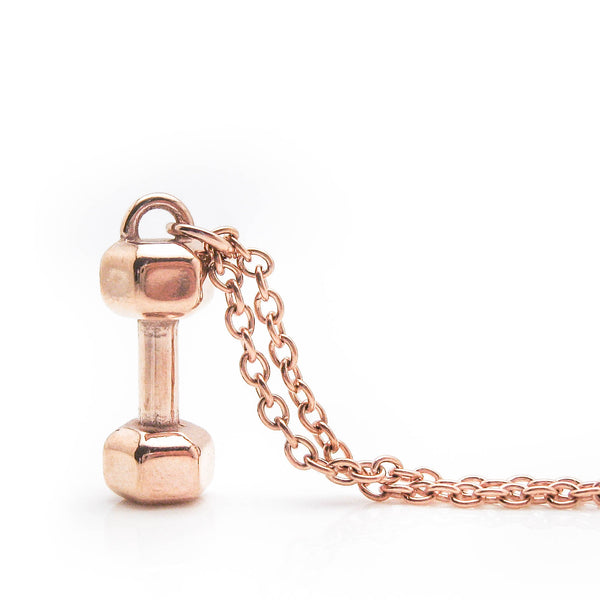 Rose Gold Mini Dumbbell Necklace (Rose Gold Plated Stainless Steel)