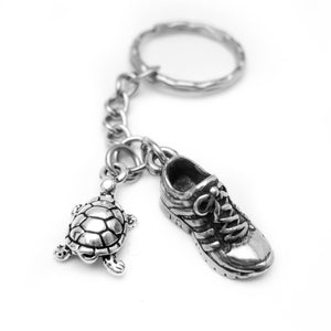 Running Shoe and Turtle Keychain