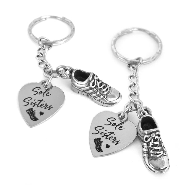 Sole Sisters Running Shoe Key Chain Set for Running or Gym Buddies