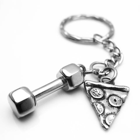 Will Lift for Pizza Dumbbell and Pizza Keychain