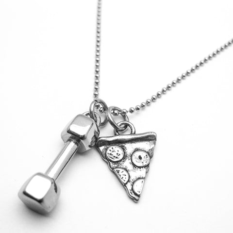 Will Lift for Pizza Dumbbell Necklace