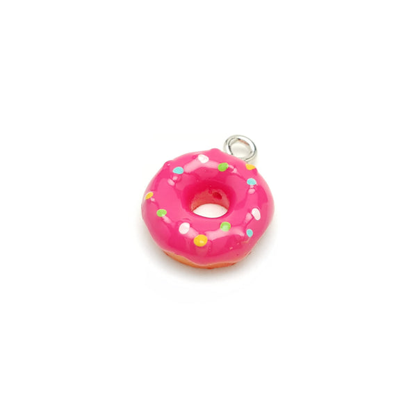 Hot Pink Donut with Sprinkles Resin Charm